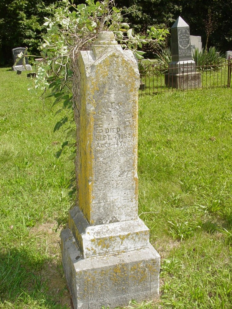 Charles Hill and Sarah Tatum Headstone Photo, Prairie Chapel Cemetery, Callaway County genealogy