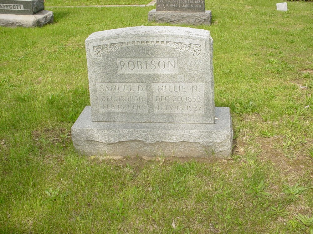 Samuel D. and Millie N. Robison Headstone Photo, White Cloud Presbyterian Church Cemetery, Callaway County genealogy