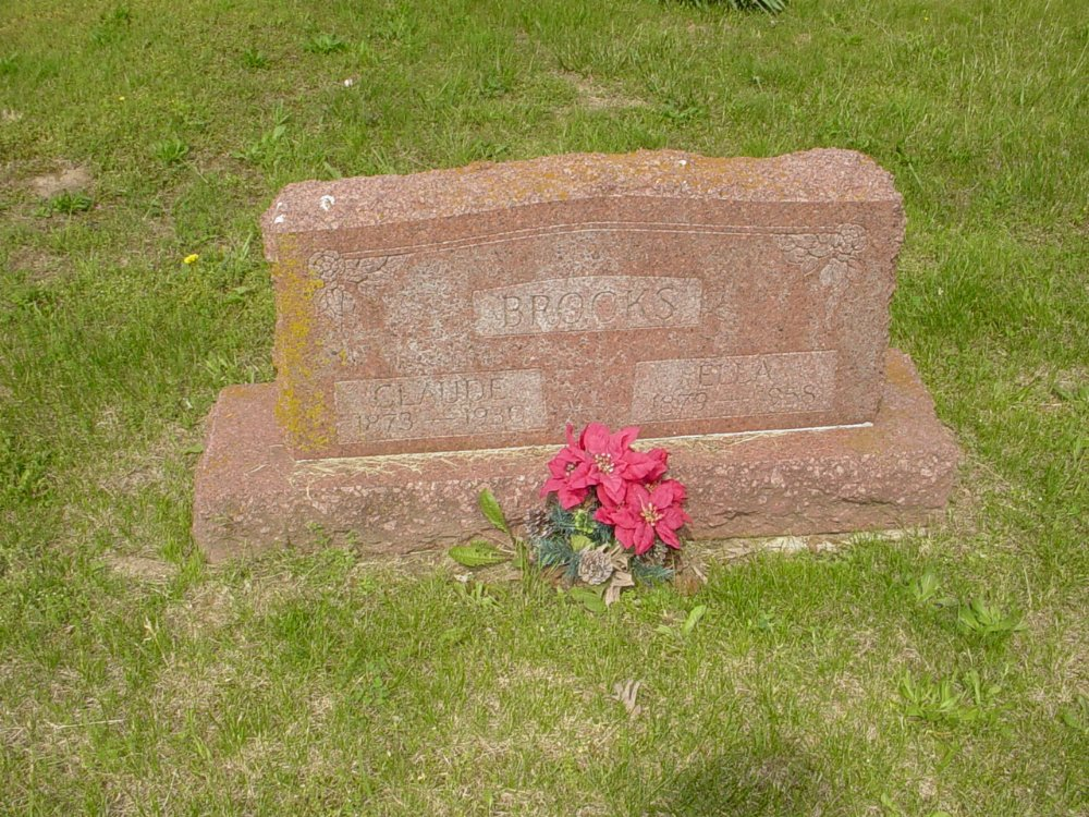 Claude and Ella Brooks Headstone Photo, White Cloud Presbyterian Church Cemetery, Callaway County genealogy