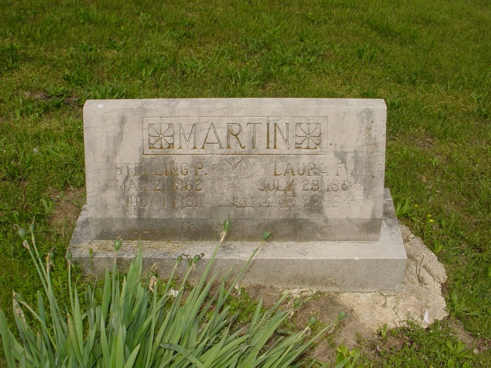 Sterling Price Martin and Laura Galwith Headstone Photo, White Cloud Presbyterian Church Cemetery, Callaway County genealogy