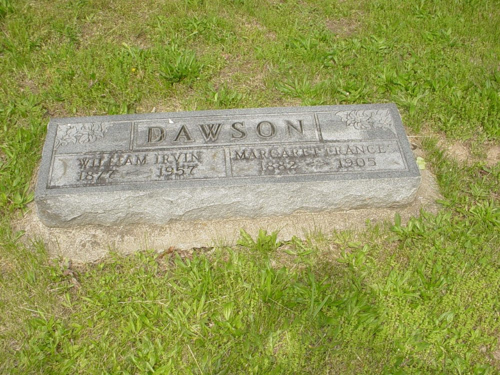 William I. Dawson and Margaret F. Crenshaw Headstone Photo, White Cloud Presbyterian Church Cemetery, Callaway County genealogy