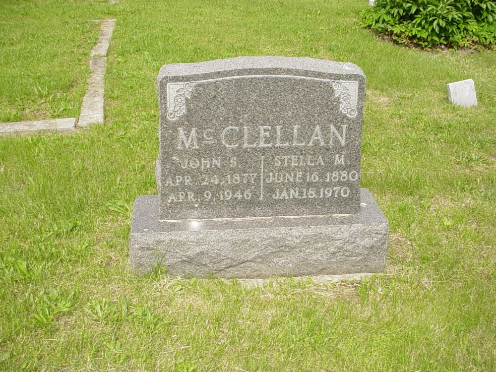 John S. McClellan and Stella M. Gilmore Headstone Photo, White Cloud Presbyterian Church Cemetery, Callaway County genealogy