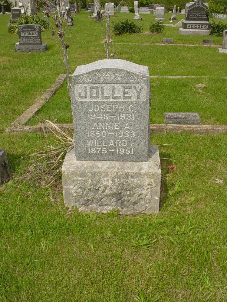 Joseph and Annie Fletcher Jolley, Willard Jolley Headstone Photo, White Cloud Presbyterian Church Cemetery, Callaway County genealogy