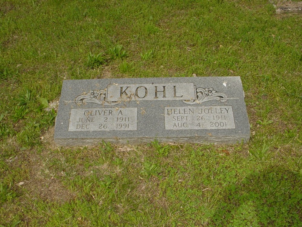 Oliver and Helen Jolley Kohl Headstone Photo, White Cloud Presbyterian Church Cemetery, Callaway County genealogy