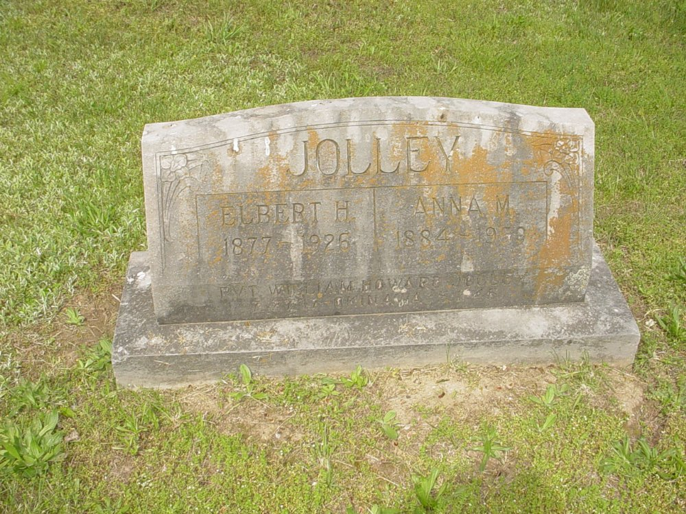 Elbert and Anna Jolley Headstone Photo, White Cloud Presbyterian Church Cemetery, Callaway County genealogy