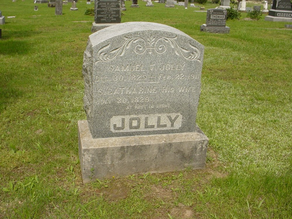 Samuel and Catherine Jolly. Headstone Photo, White Cloud Presbyterian Church Cemetery, Callaway County genealogy