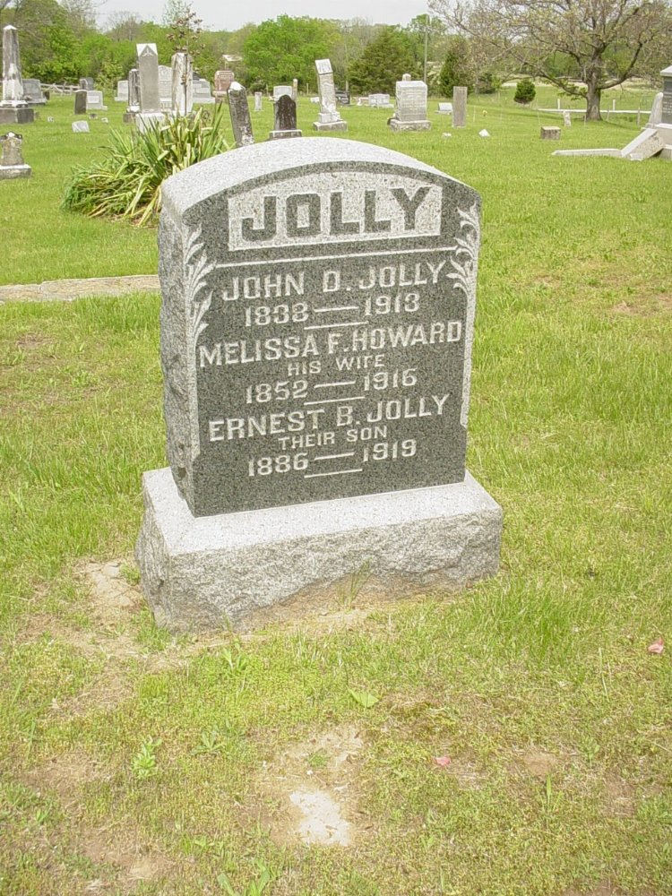 John D. Jolly, Melissa Howard, and Ernest Jolly Headstone Photo, White Cloud Presbyterian Church Cemetery, Callaway County genealogy
