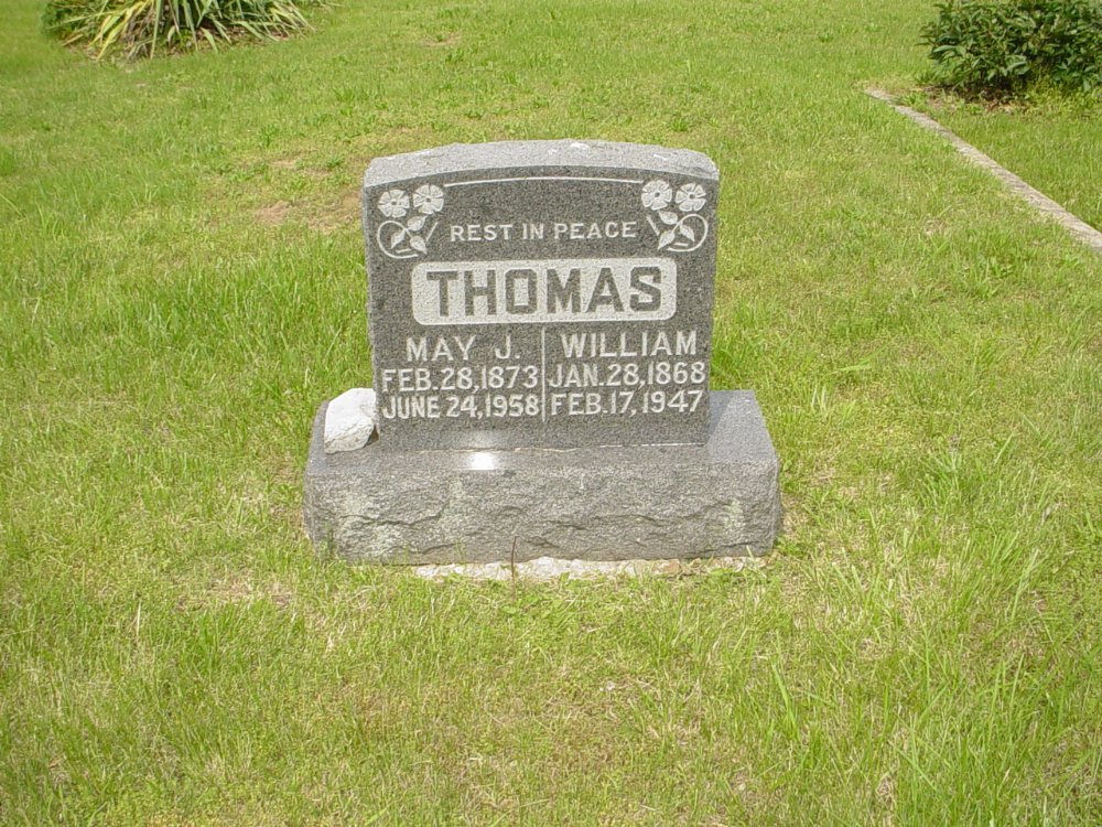 William Thomas & and Essie May Jolly Headstone Photo, White Cloud Presbyterian Church Cemetery, Callaway County genealogy
