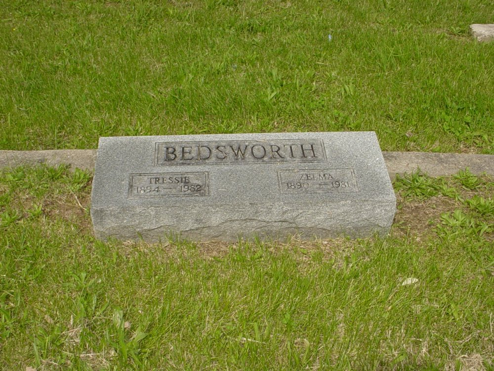 Tressie and Zelma Bedsworth Headstone Photo, White Cloud Presbyterian Church Cemetery, Callaway County genealogy