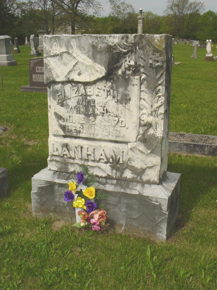 Elizabeth Bedsworth Lanham Headstone Photo, White Cloud Presbyterian Church Cemetery, Callaway County genealogy