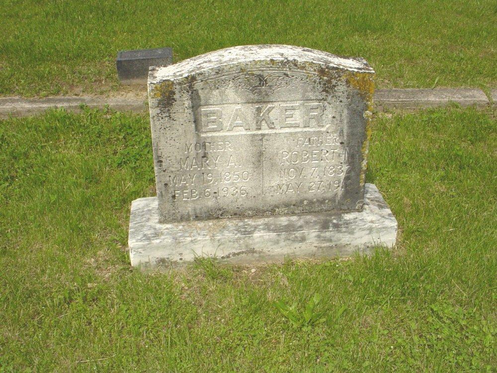 Robert N. and Mary A. Baker Headstone Photo, White Cloud Presbyterian Church Cemetery, Callaway County genealogy