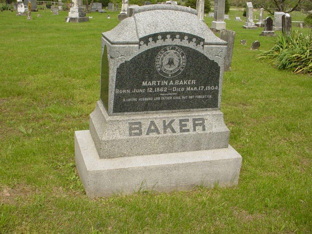 Martin A. Baker Headstone Photo, White Cloud Presbyterian Church Cemetery, Callaway County genealogy