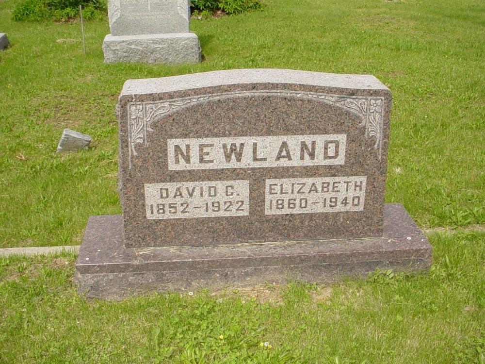 David C. and Elizabeth Newland Headstone Photo, White Cloud Presbyterian Church Cemetery, Callaway County genealogy