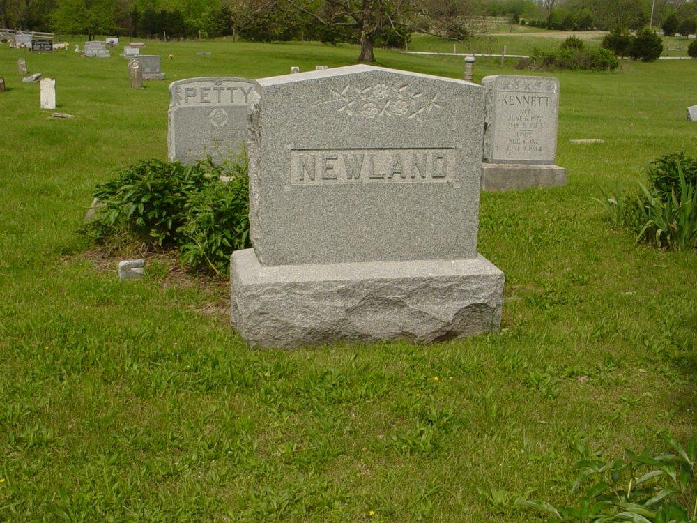 Newland family headstone Headstone Photo, White Cloud Presbyterian Church Cemetery, Callaway County genealogy