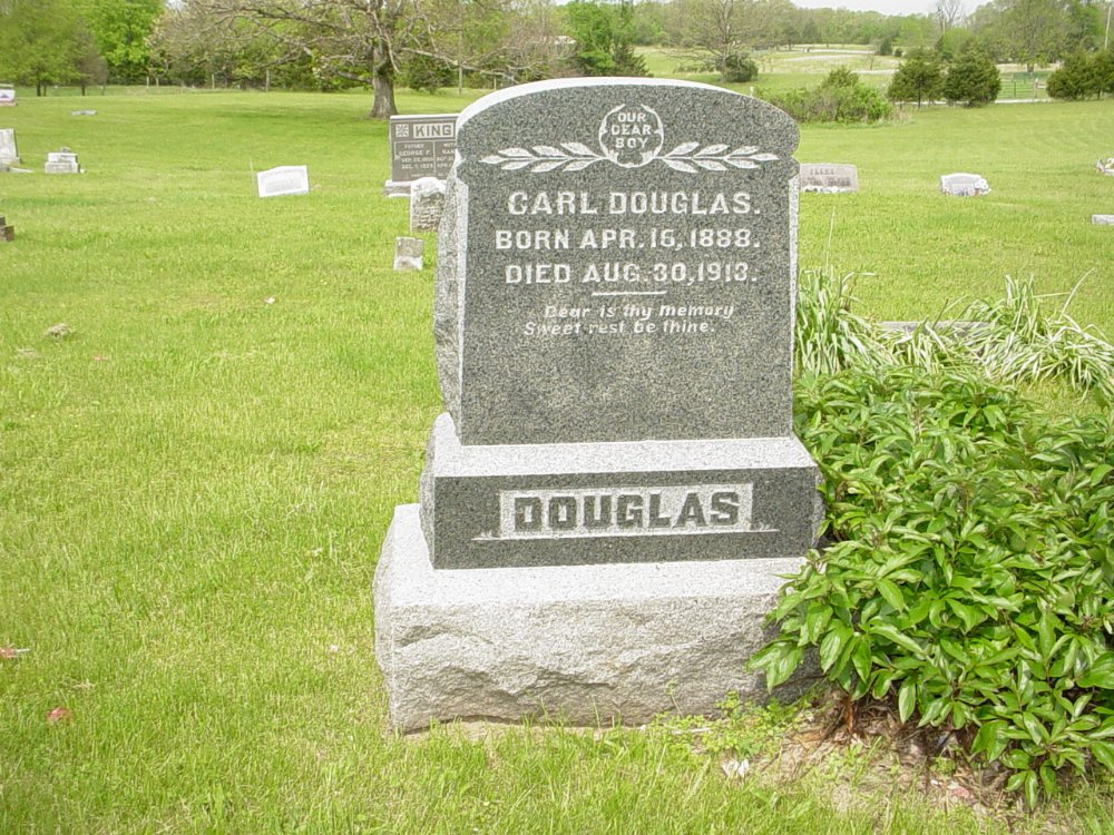 Carl V. Douglass Headstone Photo, White Cloud Presbyterian Church Cemetery, Callaway County genealogy