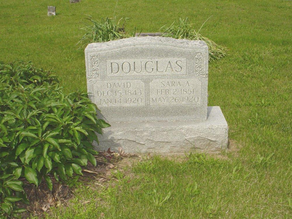 David Douglas and Sara E. Adcock Headstone Photo, White Cloud Presbyterian Church Cemetery, Callaway County genealogy