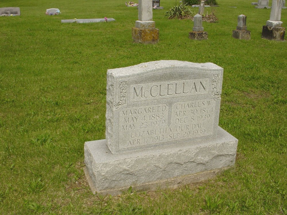 Charles W. McClellan, Margaret Douglass, and Elizabeth McClellan Headstone Photo, White Cloud Presbyterian Church Cemetery, Callaway County genealogy