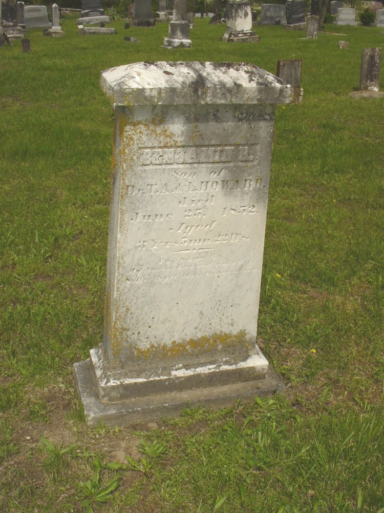Benjamin Howard Headstone Photo, White Cloud Presbyterian Church Cemetery, Callaway County genealogy