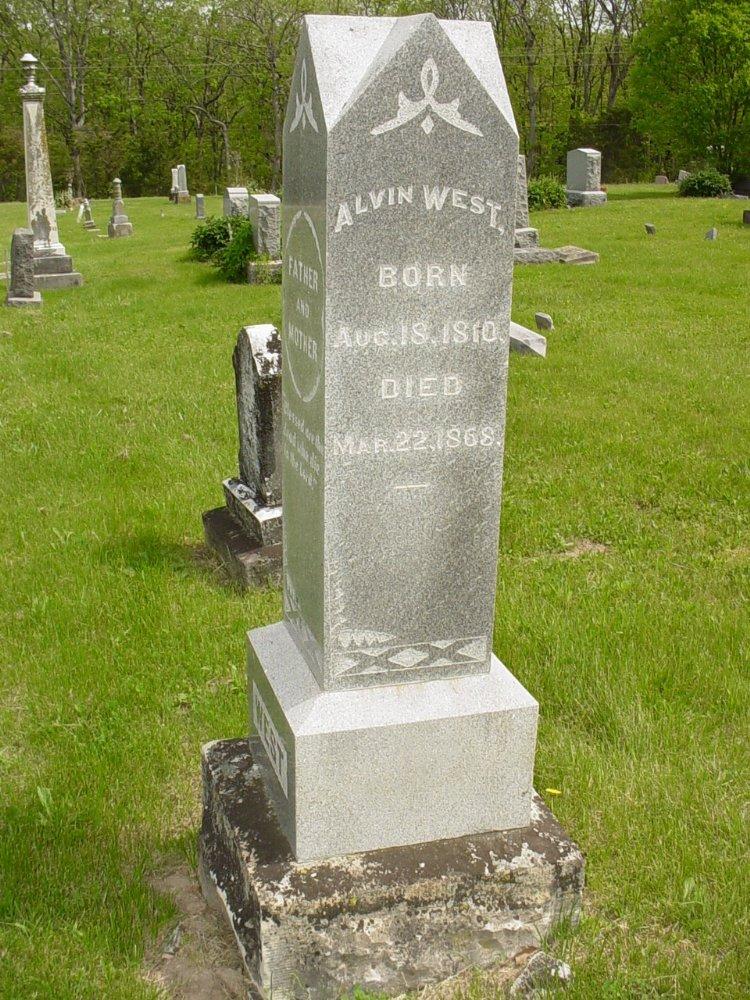 Alvin West Headstone Photo, White Cloud Presbyterian Church Cemetery, Callaway County genealogy