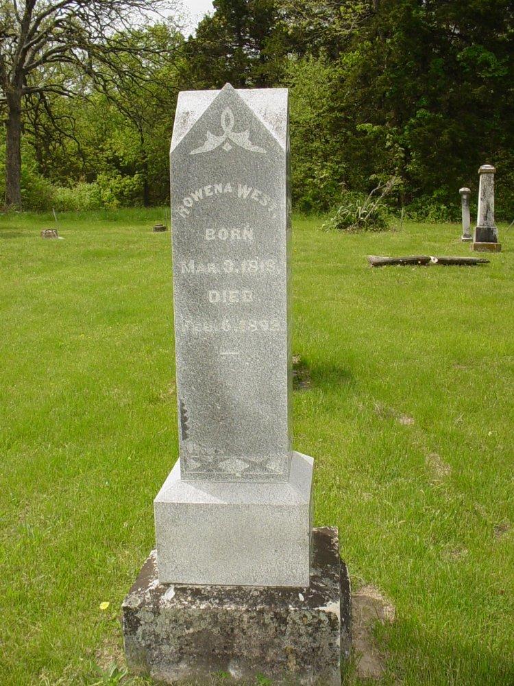 Rowena West Headstone Photo, White Cloud Presbyterian Church Cemetery, Callaway County genealogy