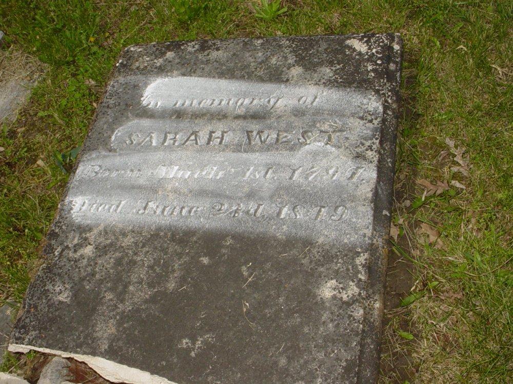 Sarah West Headstone Photo, White Cloud Presbyterian Church Cemetery, Callaway County genealogy
