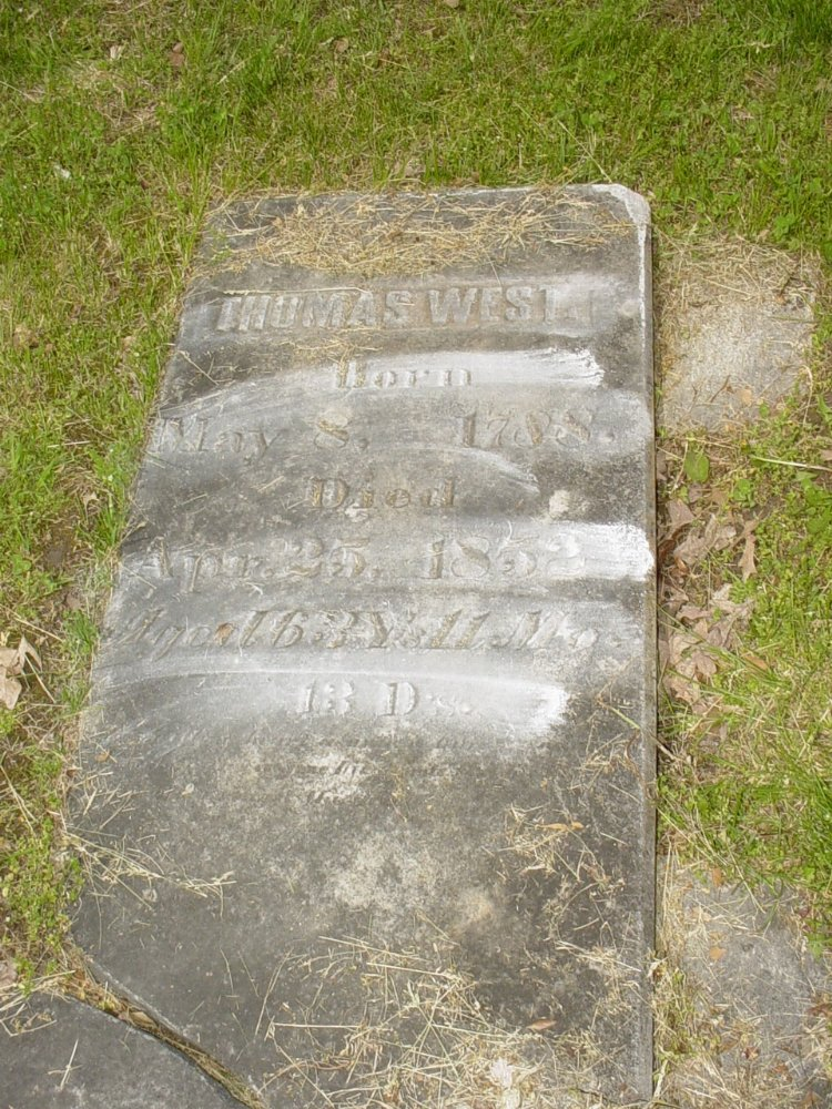 Thomas West Headstone Photo, White Cloud Presbyterian Church Cemetery, Callaway County genealogy