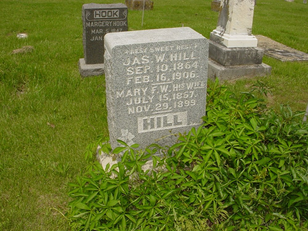 James W. Hill and Mary F. Thatcher Headstone Photo, White Cloud Presbyterian Church Cemetery, Callaway County genealogy