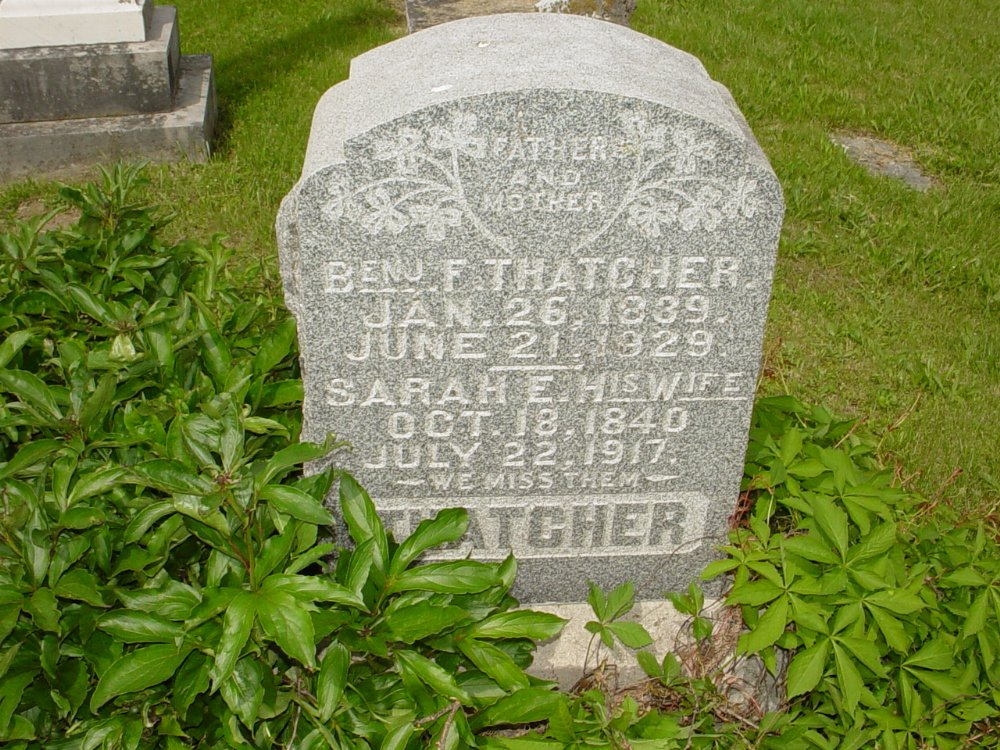 Benjamin F. Thatcher and Sarah E. Newland Headstone Photo, White Cloud Presbyterian Church Cemetery, Callaway County genealogy