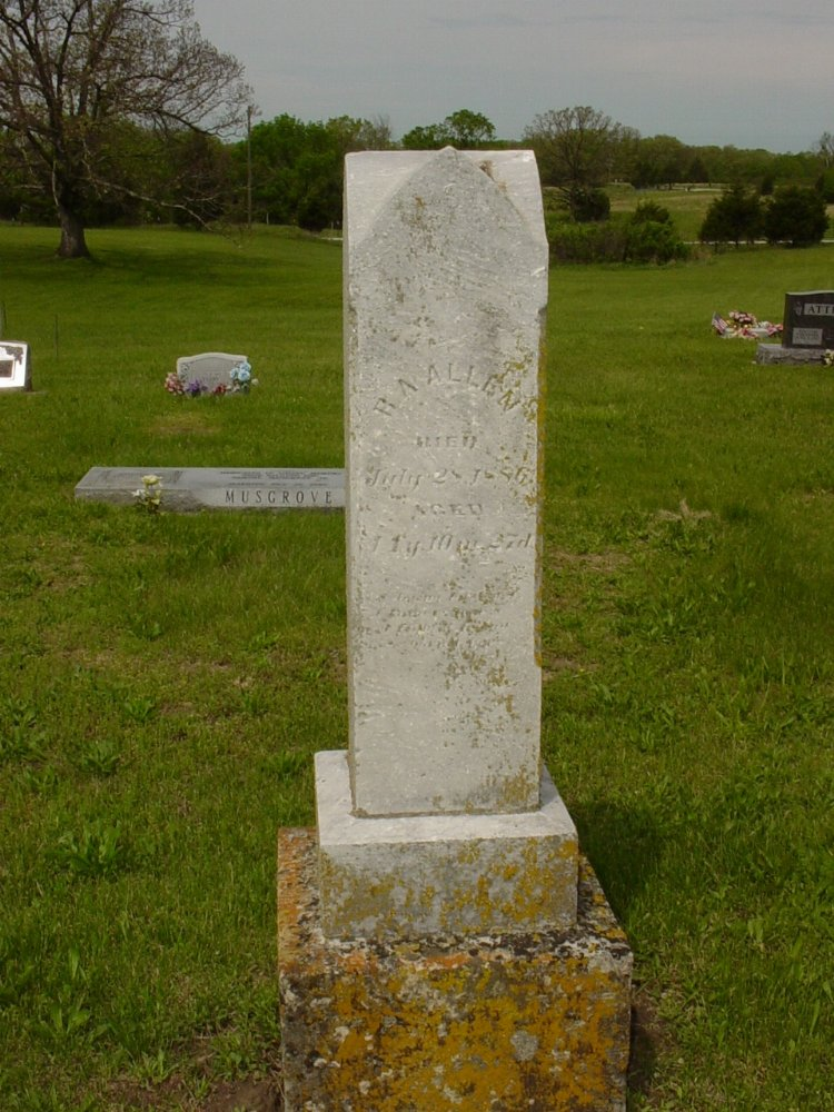 R.A. Allen Headstone Photo, White Cloud Presbyterian Church Cemetery, Callaway County genealogy
