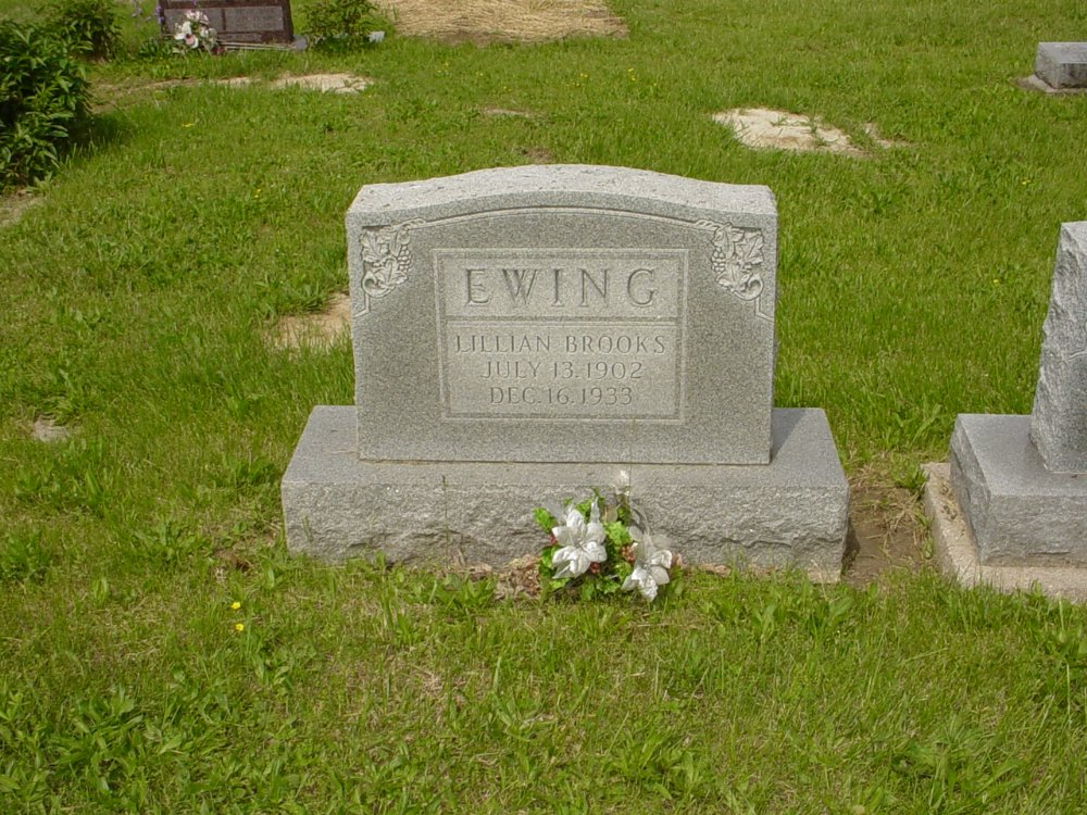 Lillian Brooks Ewing Headstone Photo, White Cloud Presbyterian Church Cemetery, Callaway County genealogy