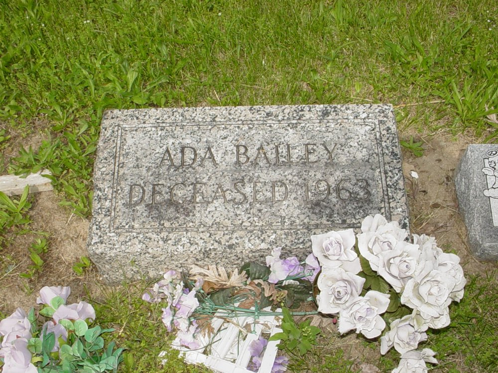 Ada Bailey Headstone Photo, White Cloud Presbyterian Church Cemetery, Callaway County genealogy