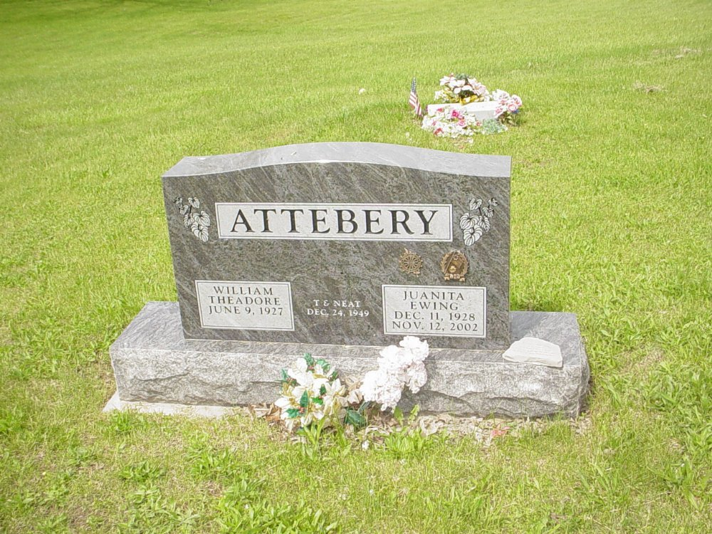 William & Juanita Ewing Attebery Headstone Photo, White Cloud Presbyterian Church Cemetery, Callaway County genealogy
