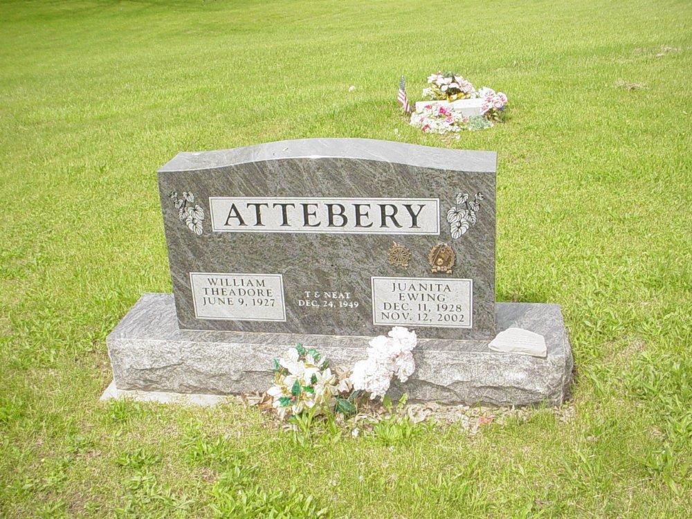 William & Juanita Ewing Attebery Headstone Photo, White Cloud Presbyterian Church Cemetery, Callaway County genealogy
