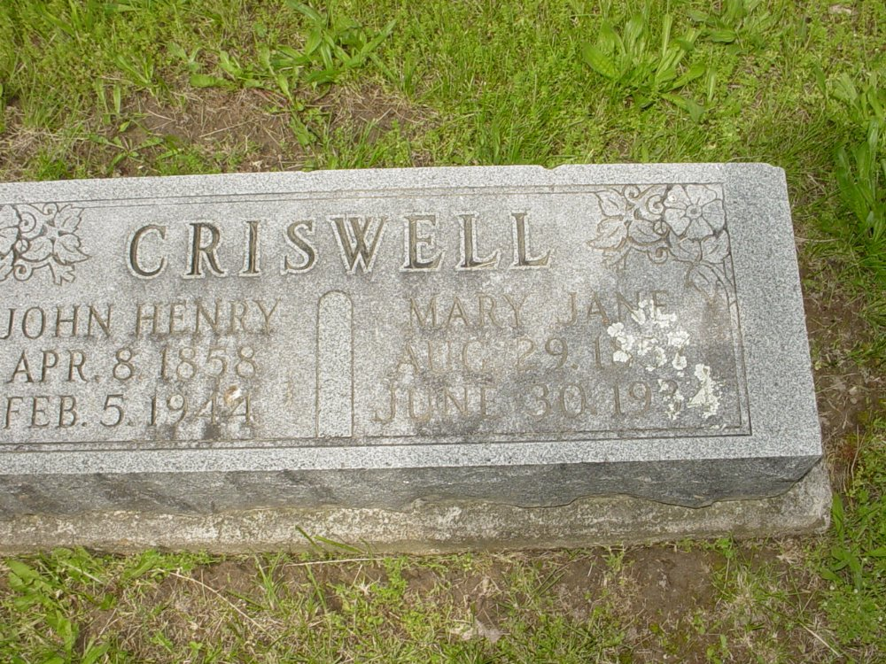John H. Criswell and Mary J. Adcock Headstone Photo, White Cloud Presbyterian Church Cemetery, Callaway County genealogy