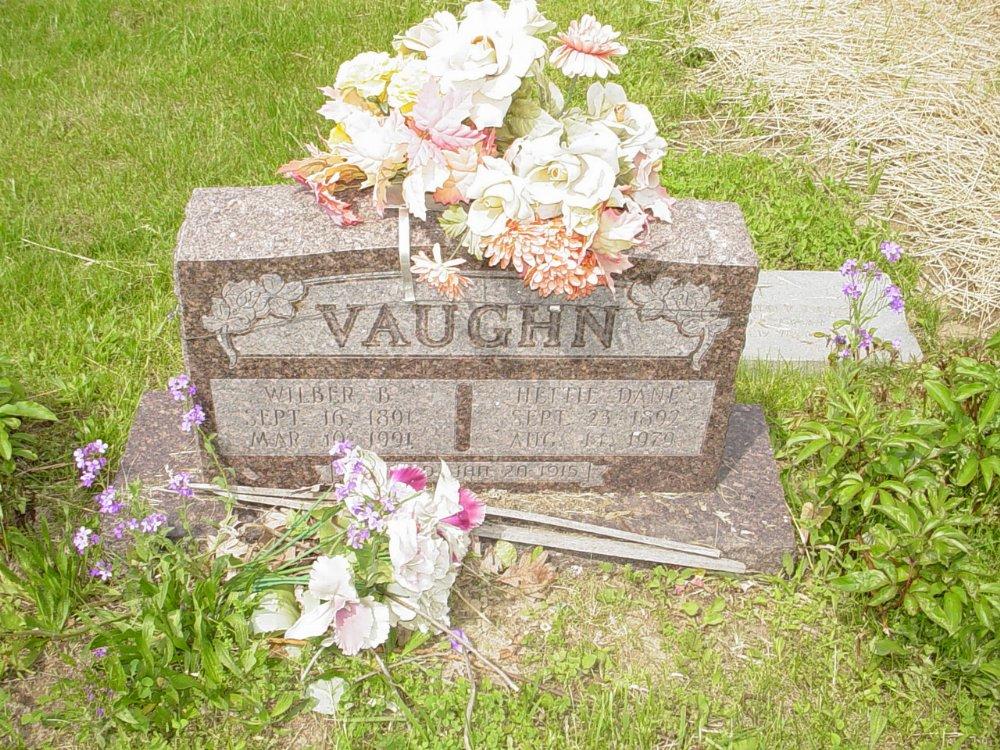 Wilber Vaughn and Hettie Dane Headstone Photo, White Cloud Presbyterian Church Cemetery, Callaway County genealogy