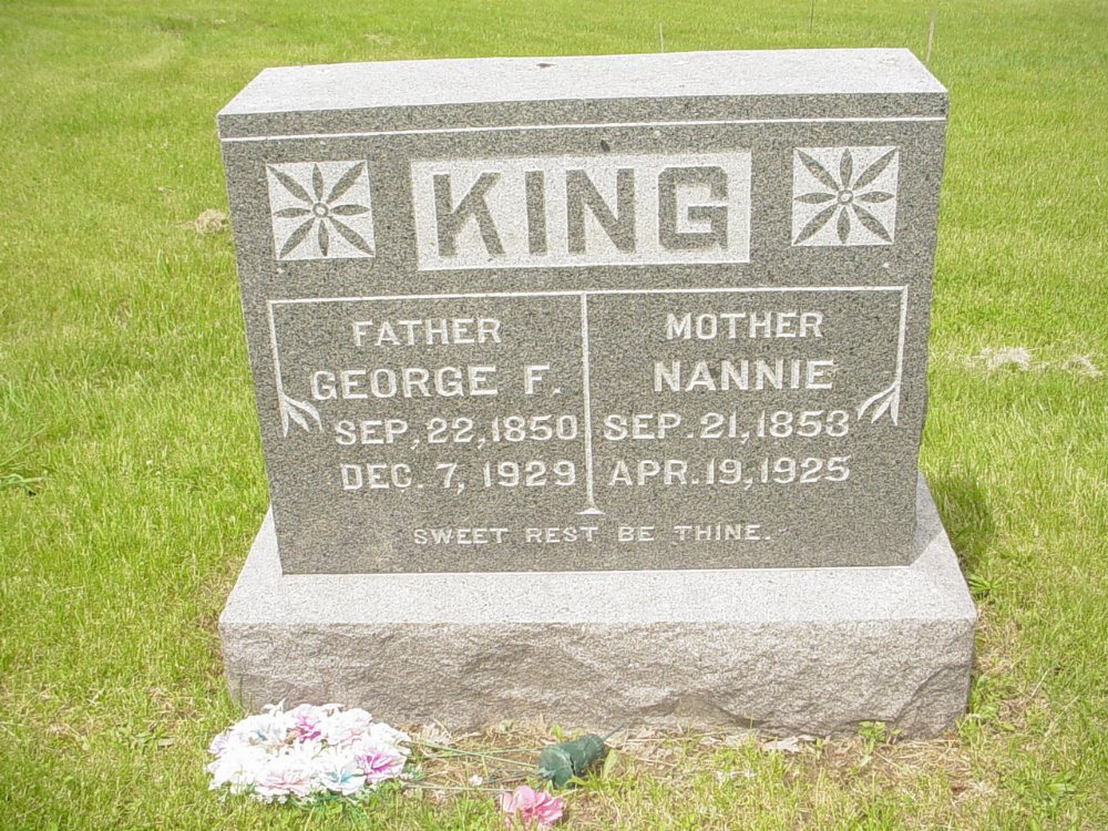George and Nannie King Headstone Photo, White Cloud Presbyterian Church Cemetery, Callaway County genealogy