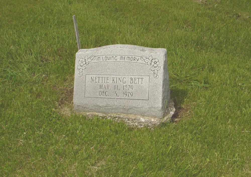 Nettie King Bett Headstone Photo, White Cloud Presbyterian Church Cemetery, Callaway County genealogy