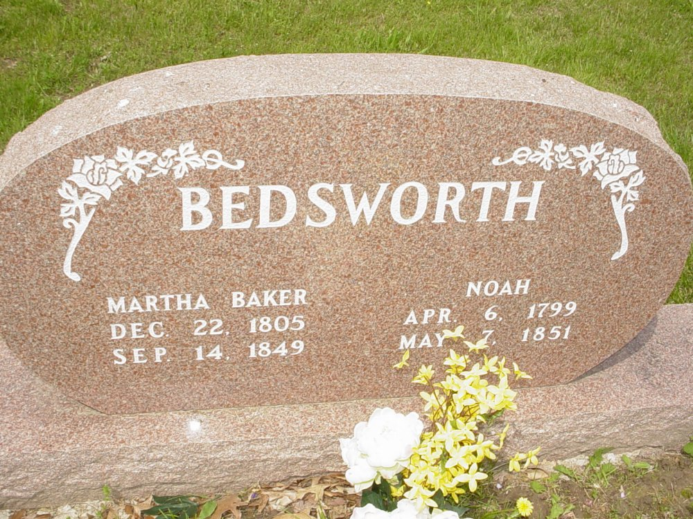 Noah and Martha Baker Bedsworth Headstone Photo, White Cloud Presbyterian Church Cemetery, Callaway County genealogy