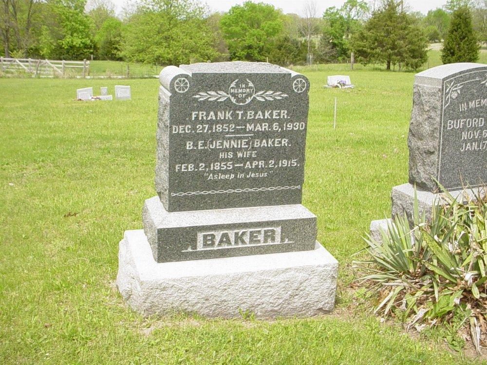 Frank Baker and B.E. Jennie Laysen Headstone Photo, White Cloud Presbyterian Church Cemetery, Callaway County genealogy